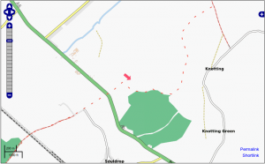 OpenStreetMap showing Biogas facility in England at the red marker