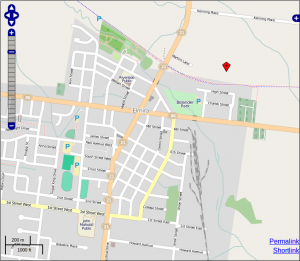 OpenStreetMap showing a red marker for the location of the proposed Elmira Biowaste Plant