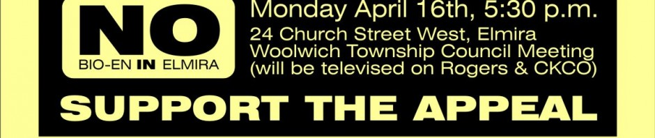Elmira Protest, Monday 16 April at 5:30pm at Woolwich Township Hall